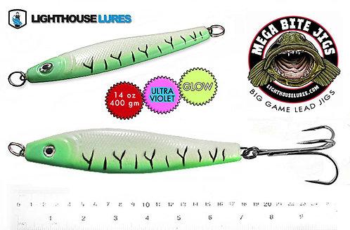 Mega Bite Big Game Deep Drop Herring Jig 14oz & 20oz – Green Tiger