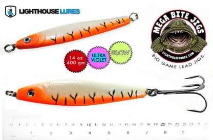 Mega Bite Big Game Deep Drop Herring Jig 14oz & 20oz – Orange Tiger