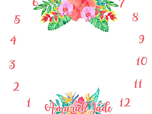 Tropical Flowers Milestone Tapestry