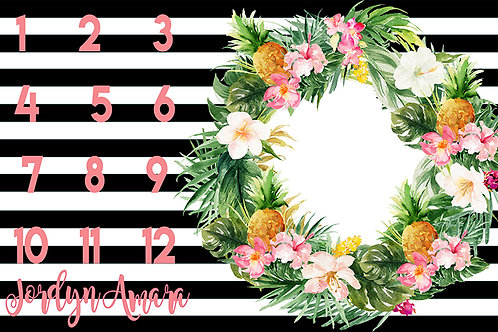 Striped + Floral Milestone Tapestry
