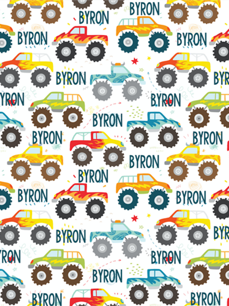 Personalized Monster Truck Blanket