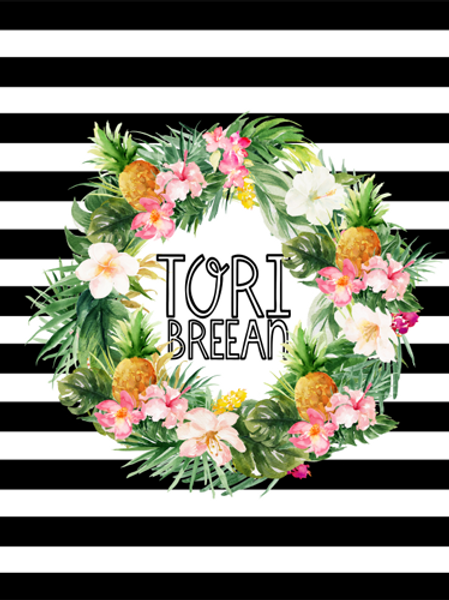Personalized Striped Floral Wreath Blanket