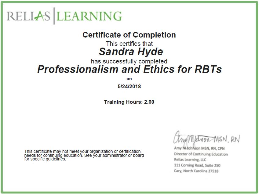 Professionalism and Ethics
