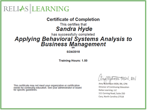 Applying Behavioural Systems Analysis to Business Management