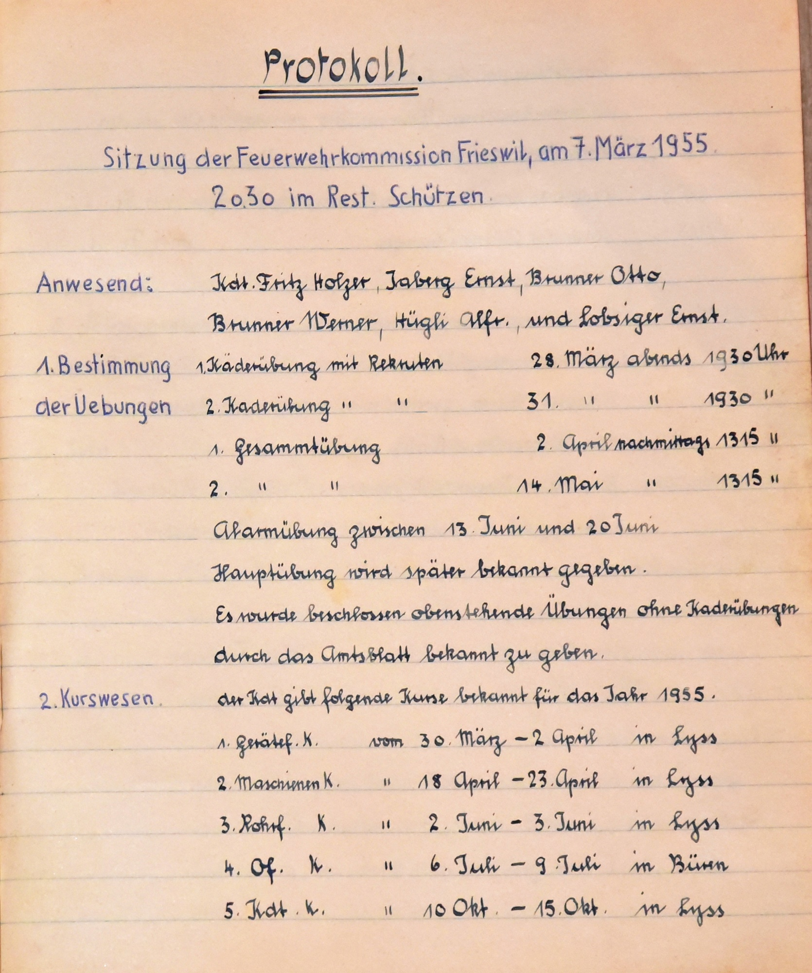 1955 Protokoll Frieswil