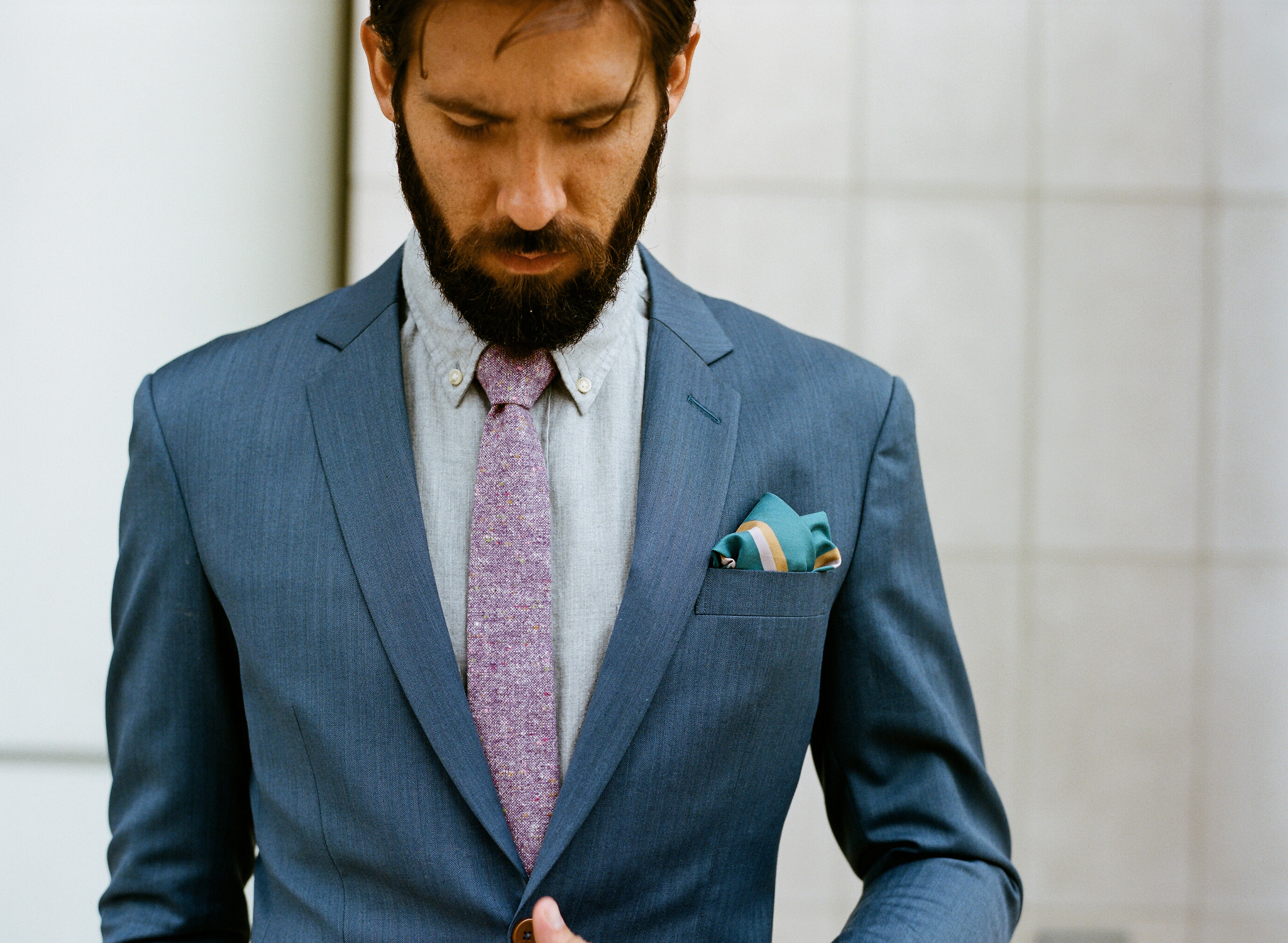 heightened blue suit