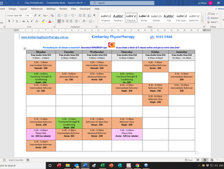 Updated Pilates Timetable