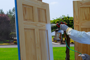 Door painting and installation