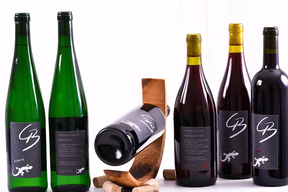 Vor- und Rückseite der Rot- und Weissweinflasche