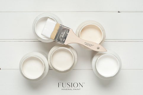 off white fusion paint jars and paint brush