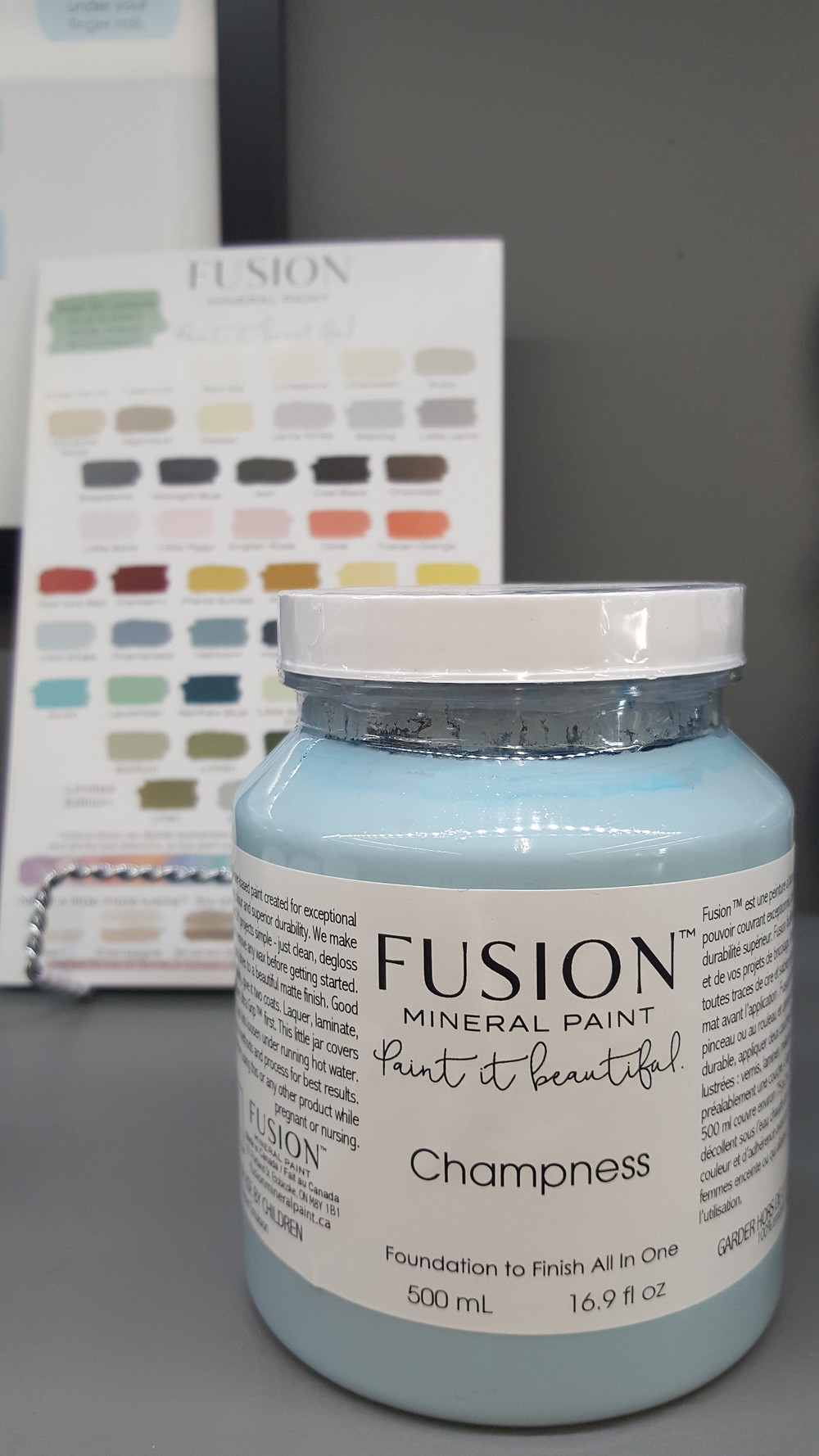Jar of blue paint, Fusion Mineral Paint