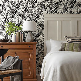 Black and white fern wallpaper on bedroom wall, york wallpaper, joanna gaines wallpaper
