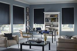grey modern livingroom with dark grey roller shades