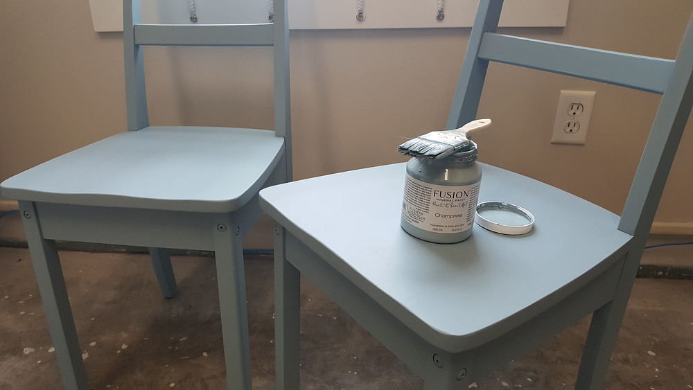 2 blue painted chairs, Fusion Mineral Paint, Champness