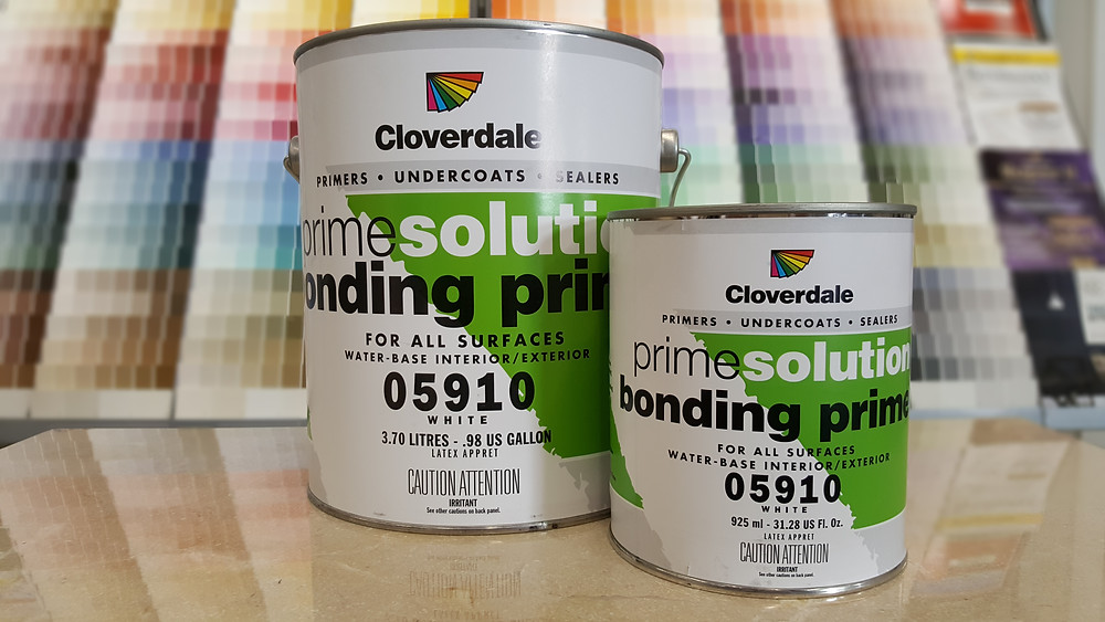 green and white paint can, Cloverdale Paint, primer