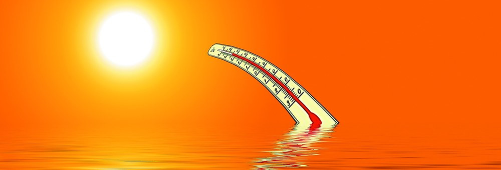 cartoon thermometer floating in water melting toward hot sun
