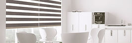 white modern kitchen with grey window shades