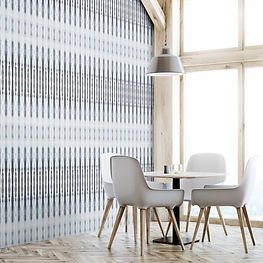 dining room with large wndows and blue grey bohemian wallpaper, york wallpaper, york wallcoverings
