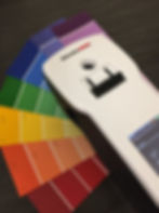 datacolor specrophotometer on diffeent colored paint chips