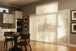 large patio doors with white horizontal shades