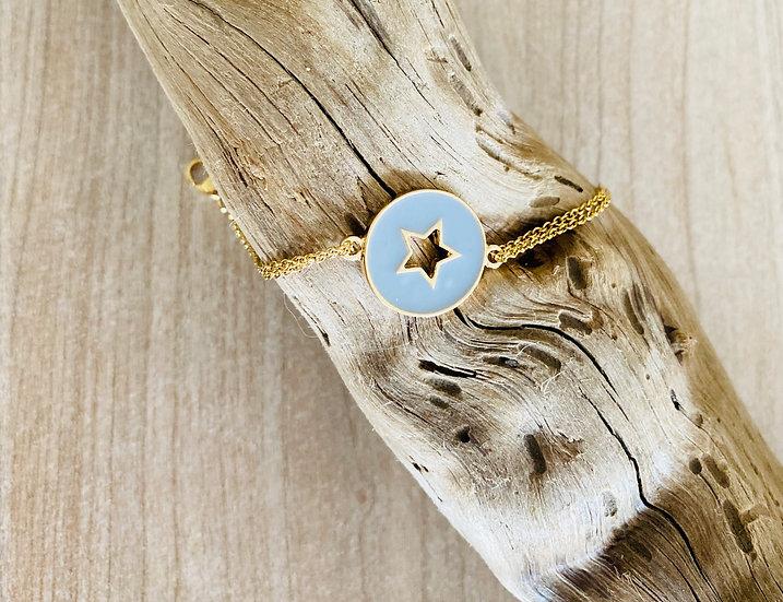 Bracelet étoile grisbleu