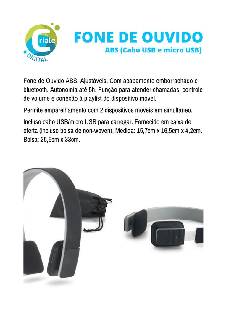 Fone de Ouvido ABS Bluetooth
