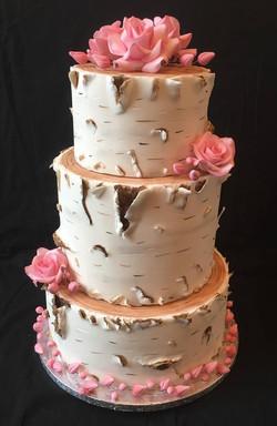 Pink Rose Silver Birch Cake