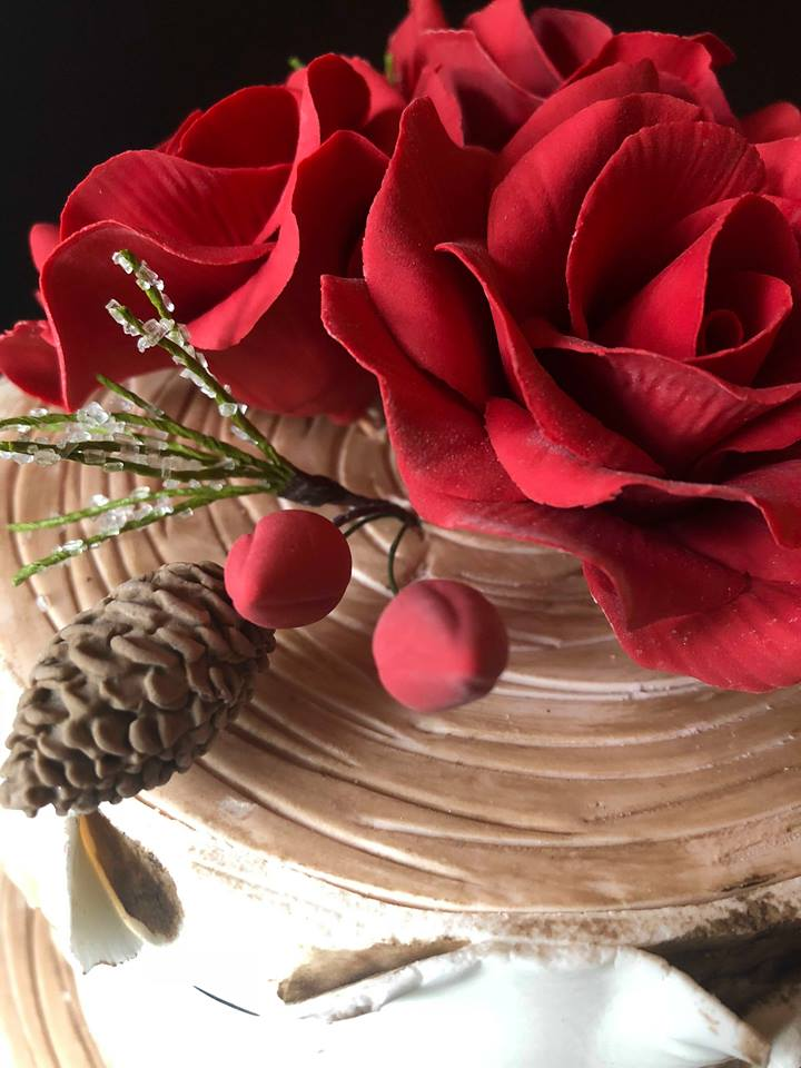 Red Rose Silver Birch Cake