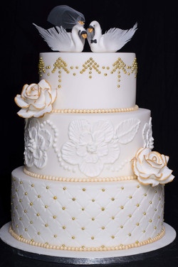 Gold Swan Wedding Cake
