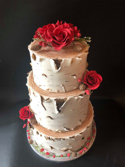 Red Rose Silver Birch Cake