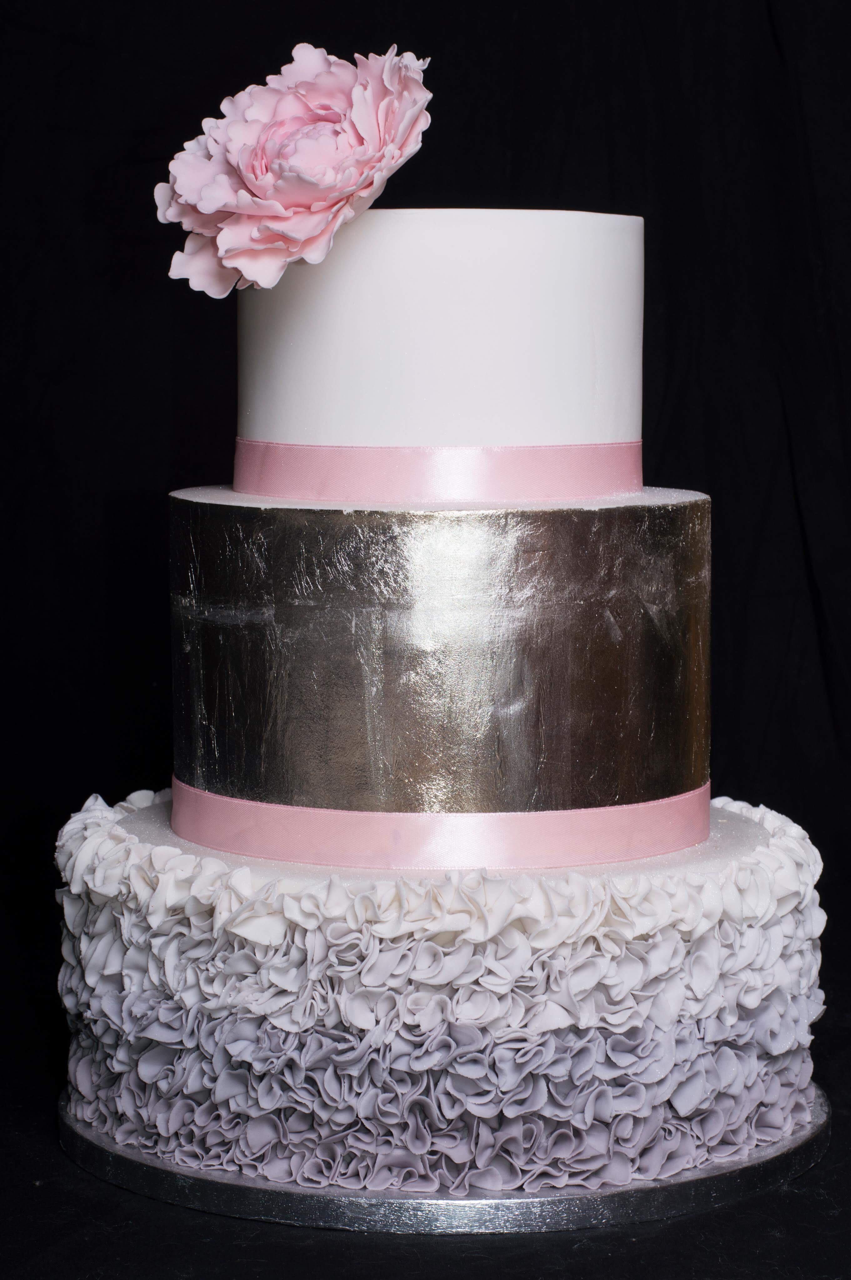 Silver & Pink Peony Cake