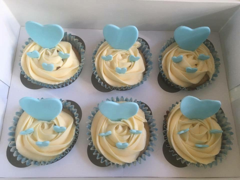 Blue Heart Cupcakes