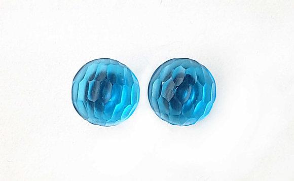 Transparent Turquoise Blue Battuto
