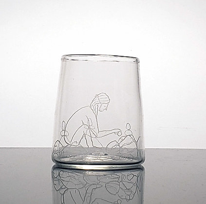 one-of-a-kind hand blown glass with etched design