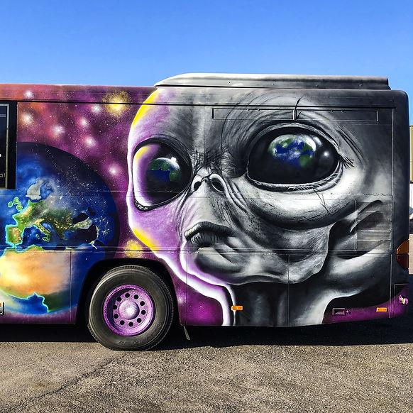 Graffiti Alien Bus