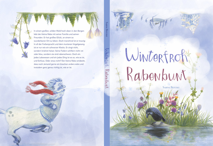"Bucheinband Winterfroh, Rabenbunt // Bookjacket Design ""Colourful as a Raven"""