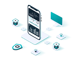 Graphic with various digital elements connecting to a mobile phone. Phone screen shows examples of biometric data.
