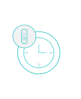 Line graphic of clock juxtaposed with Nymi Band icon.