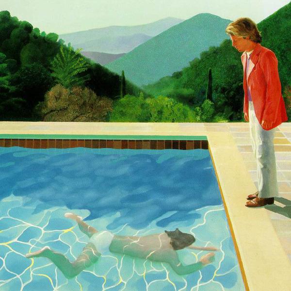 Pool with 2 figures David Hockney