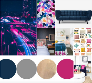 Shocking Pink and Blue Indigo palette colors
