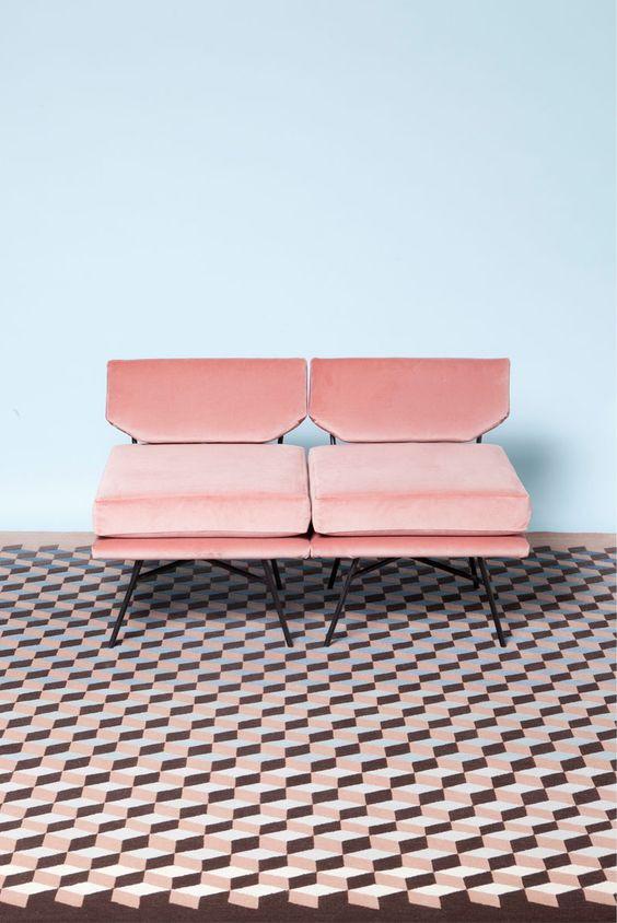 Canapé Rose Quartz + Mur Blue Serenity