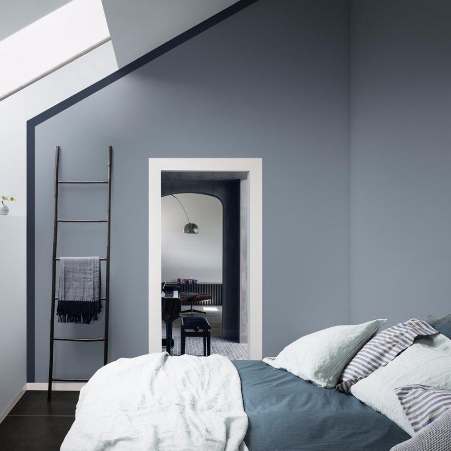 Bleu gris pour une chambre zen
