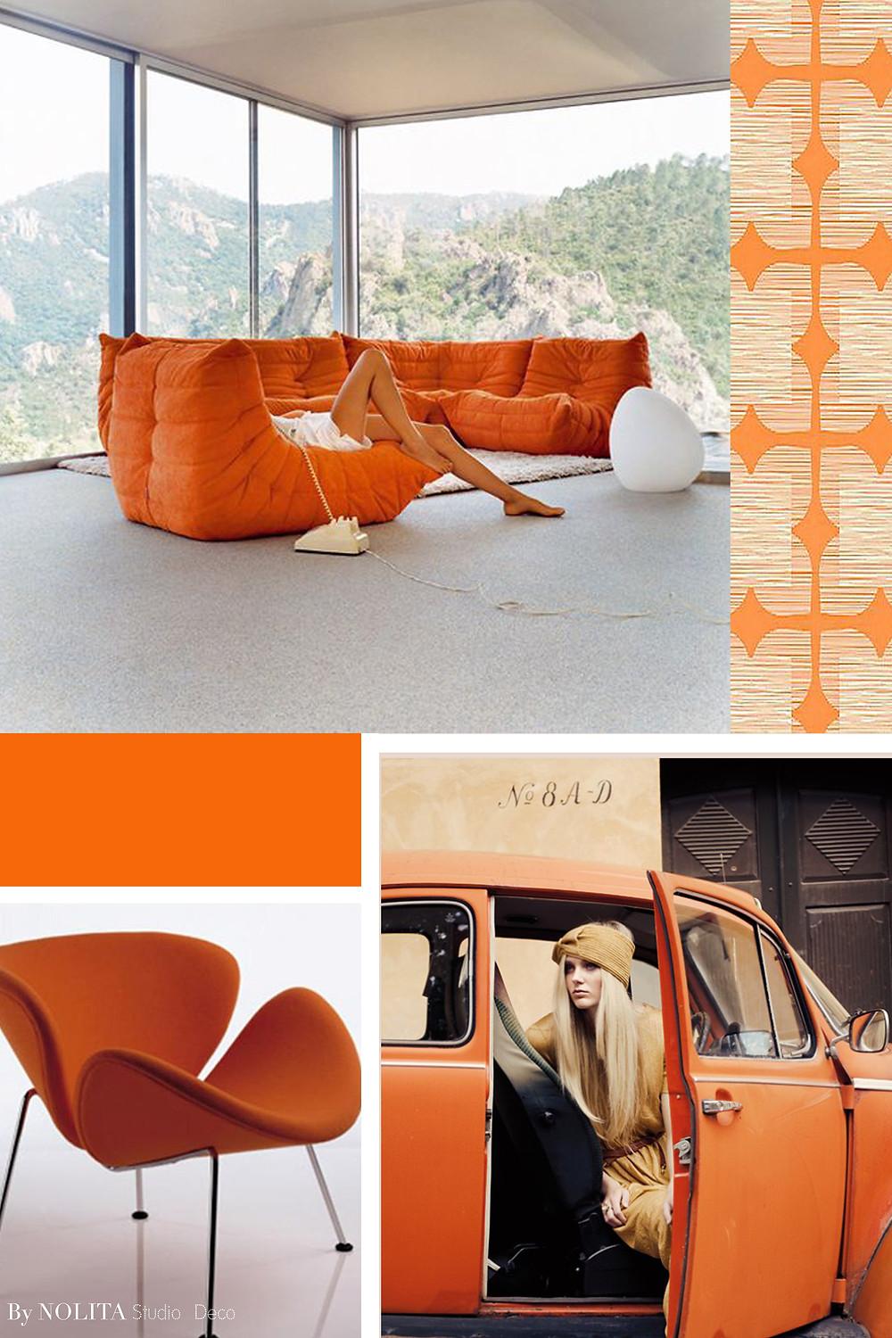 Ambiance 70's Orange décoration d'intérieur