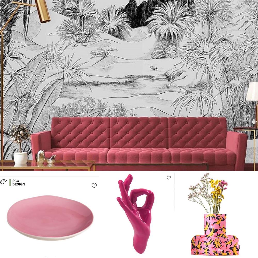 Pink black and white interior