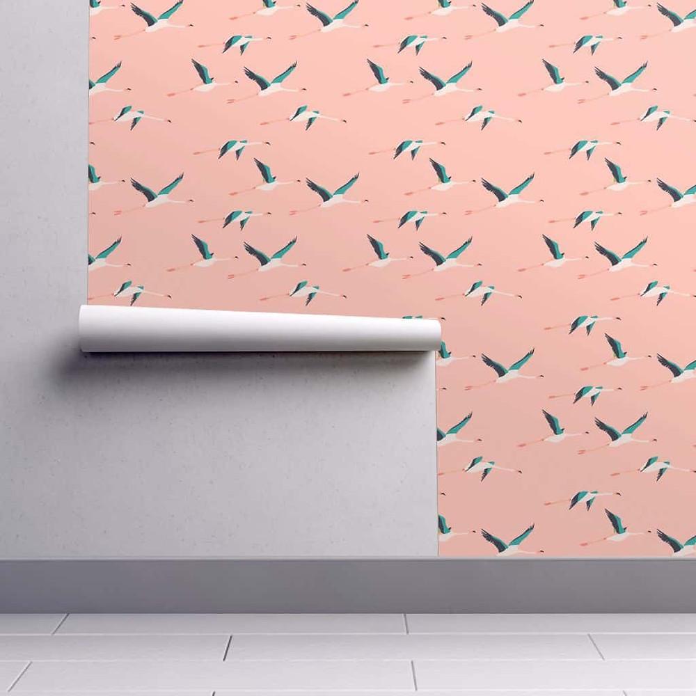 Papier Peint Flamingo Coastal SPOONFLOWER