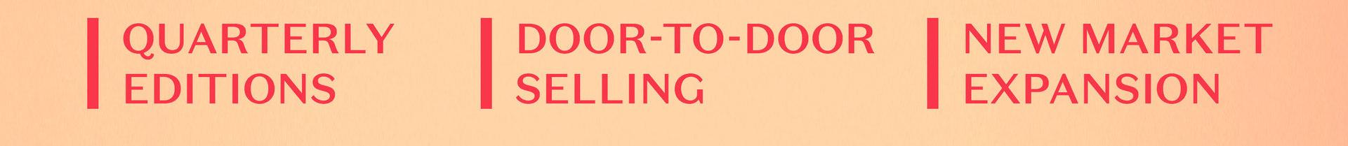 rodapé com cartacterísicas do projeto - Quarterly Editions - Door-to-door selling - New Market expansion