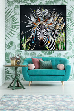 Turquoise sofa in interior with latge Ze
