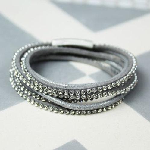 Grey Sparkle Crystal Wrap Bracelet