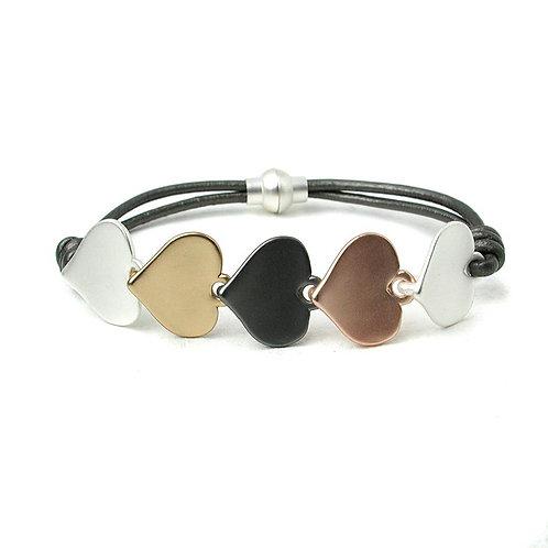 Grey Leather Mixed Metal Hearts Bracelet