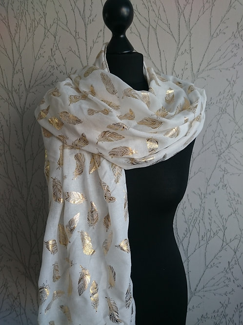White Gold Foil Leaf Scarf